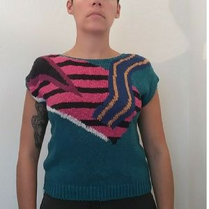 Sweaters - 80's Teal Abstract Breakfast Sweater vintage